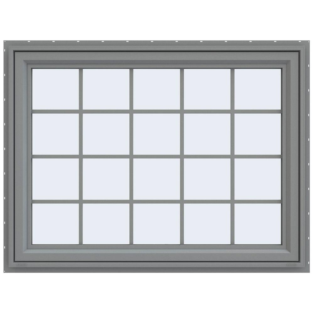 JELD-WEN 47.5 in. x 35.5 in. V-4500 Series Awning Vinyl Window with Grids - Gray