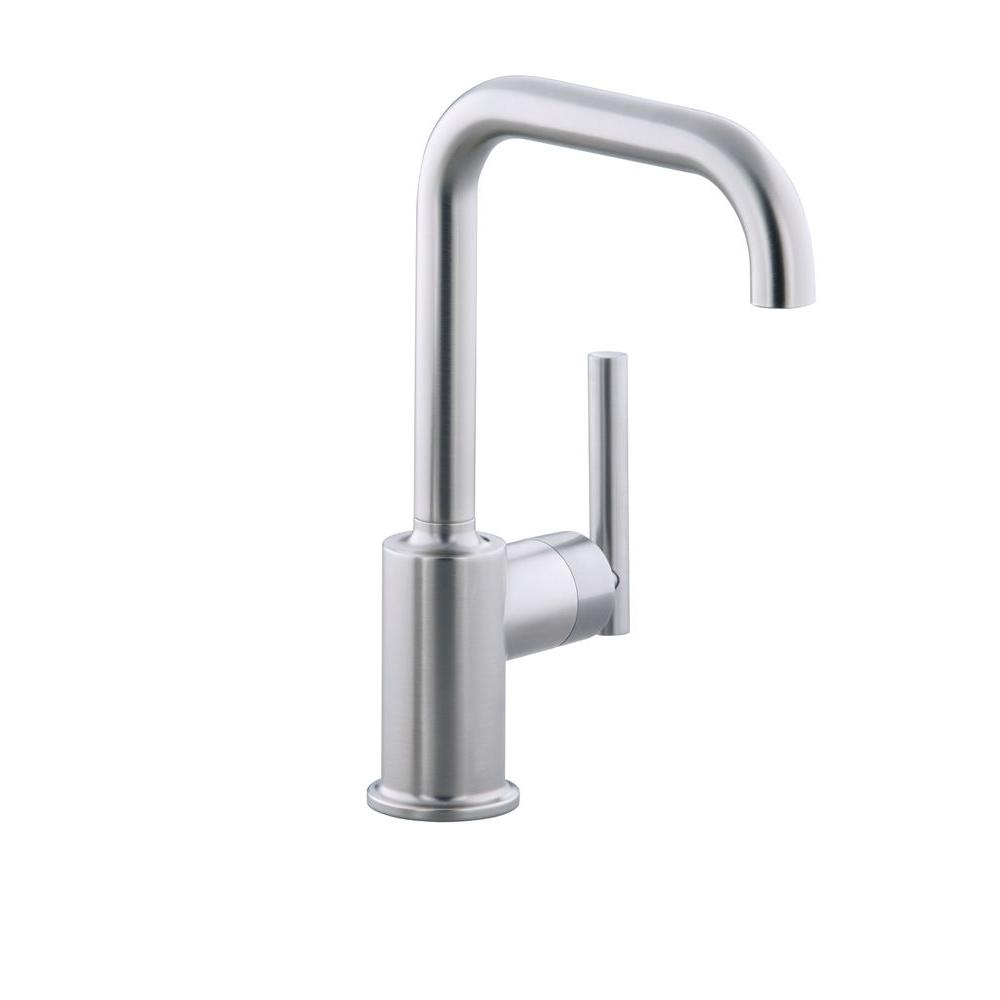 KOHLER Purist Single-Handle Standard Kitchen Faucet with Secondary Swing Spout in Vibrant Stainless