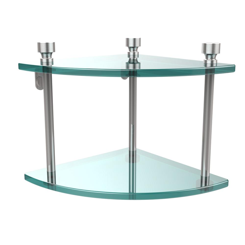 Allied Brass Foxtrot Collection 8 in. 2-Tier Corner Glass Shelf in Polished Chrome