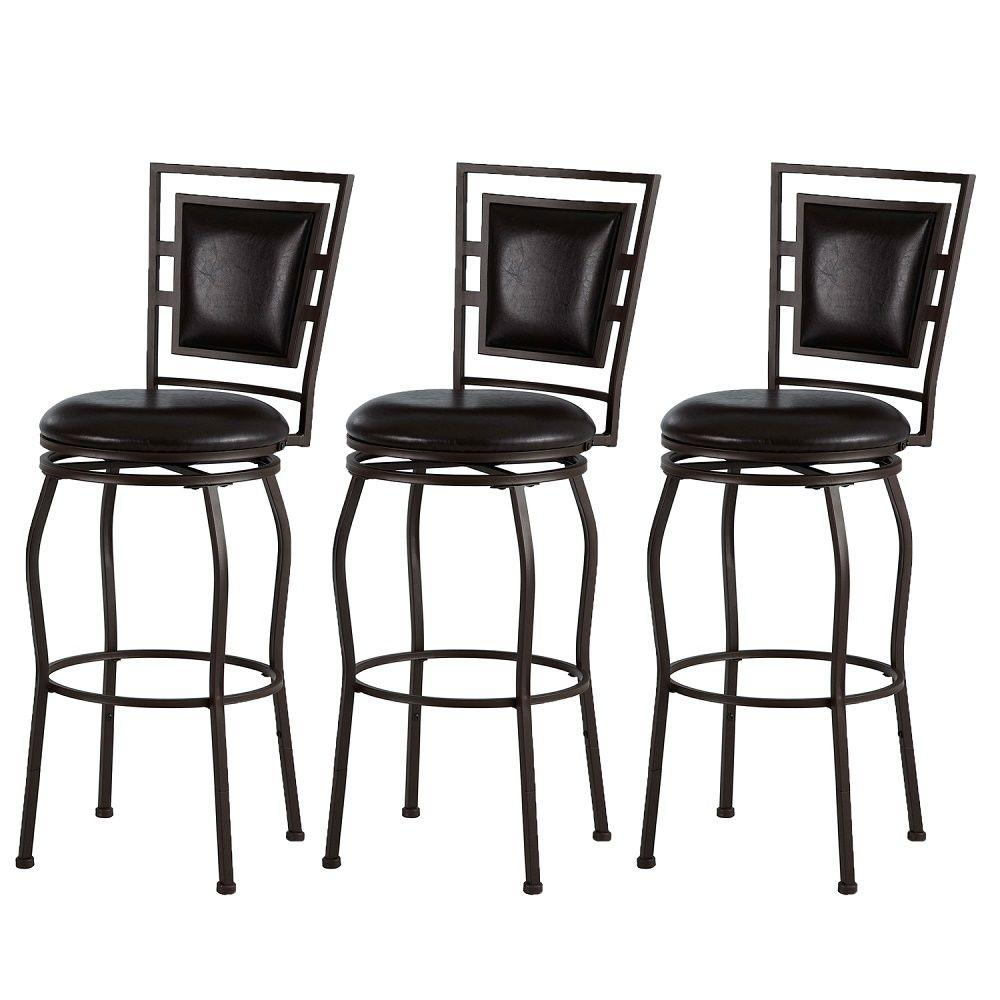 linon home decor townsend adjustable height dark brown cushioned bar stool set of 3 98321mtl. Black Bedroom Furniture Sets. Home Design Ideas
