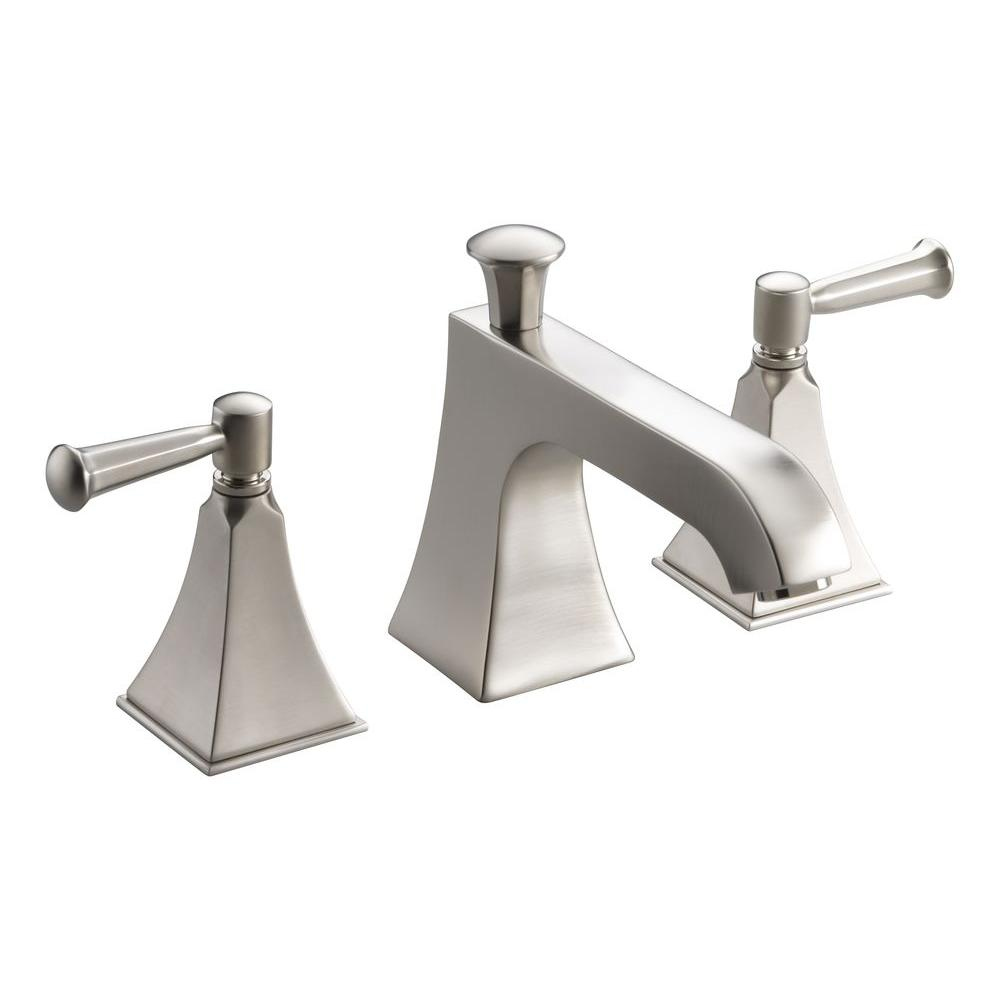 KOHLER Memoirs Deck-Mount Bath Faucet Trim with Stately Design and Lever Handles in Vibrant Brushed Nickel (Valve Not Included)