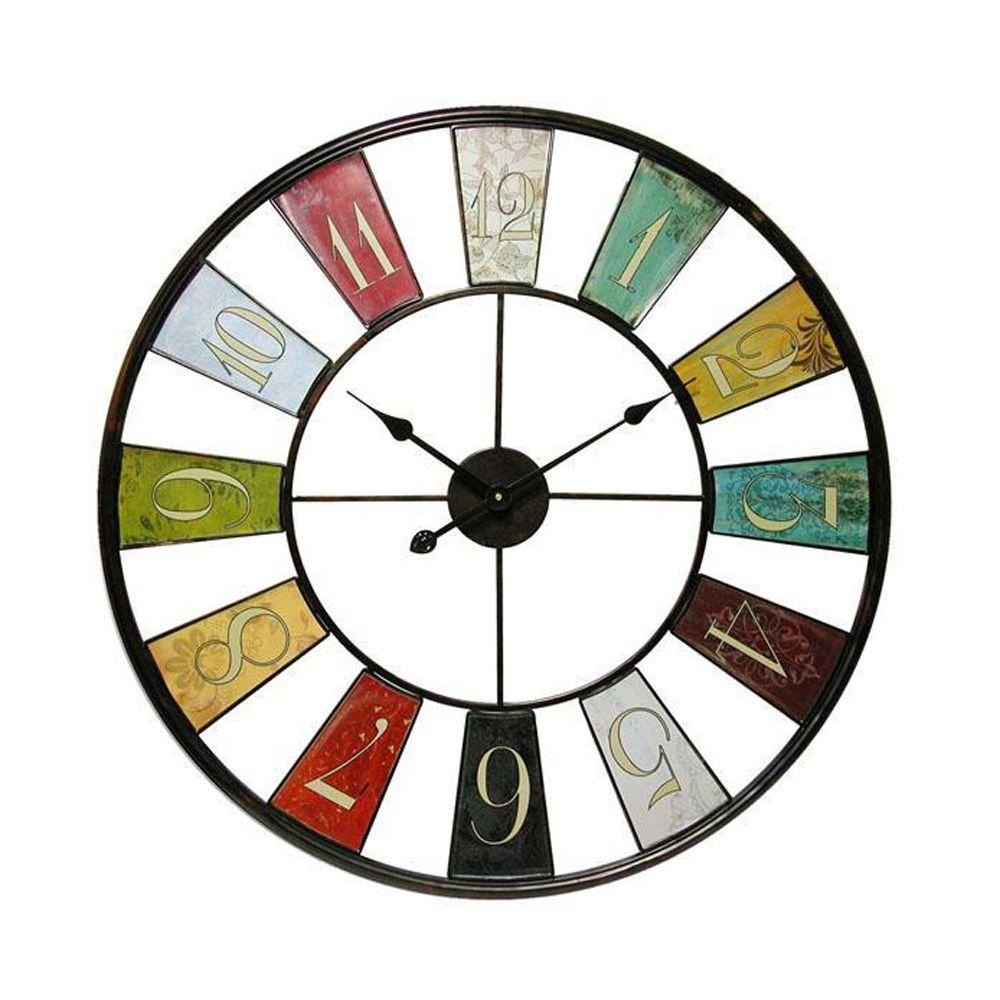 Home Decorators Collection 34 in. x 35 in. Timepiece Kaleidoscope Wall Clock