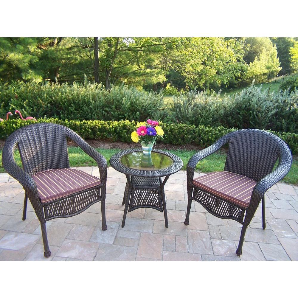 Oakland Living Elite Resin 3-Piece Wicker Patio Bistro Set with Striped Maroon Cushions