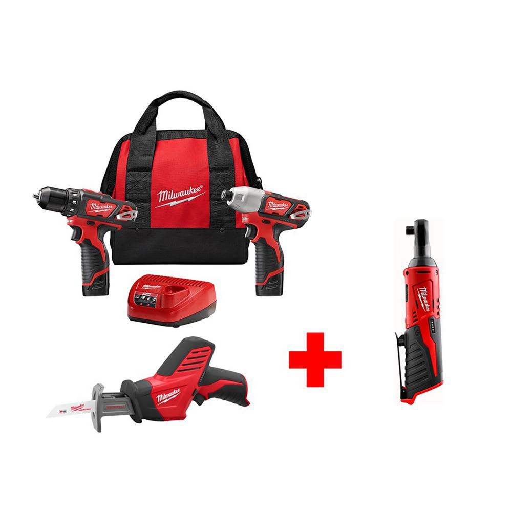 M12 12-Volt Lithium-Ion Cordless Combo Kit (3-Tool) with Free M12 3/8
