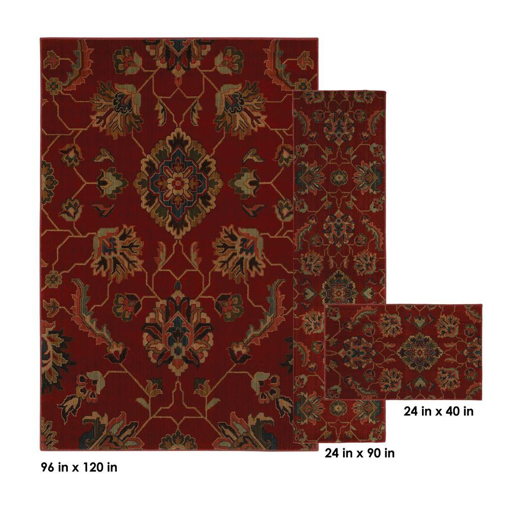 Mohawk Home Canton Red 8 ft. x 10 ft. 3 Piece Rug Set