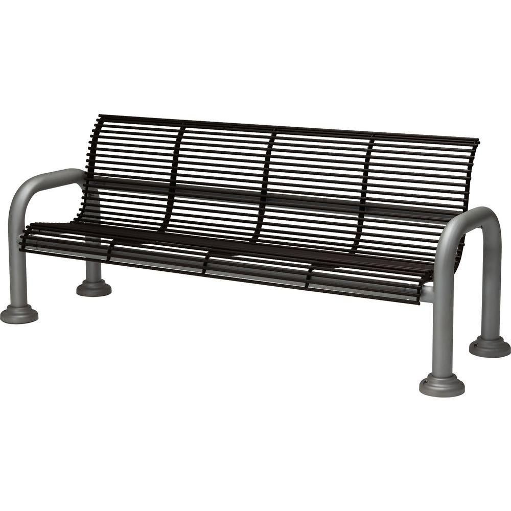 Tradewinds Harbor 6 ft. Contract Bench with Back in Textured Black-HD-C4111AC-TB