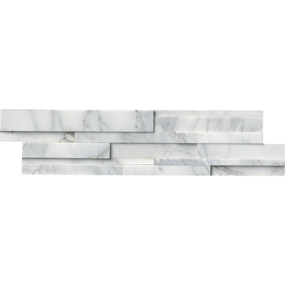 Calacatta Cressa 3D Ledger Panel 6 in. x 24 in. Honed