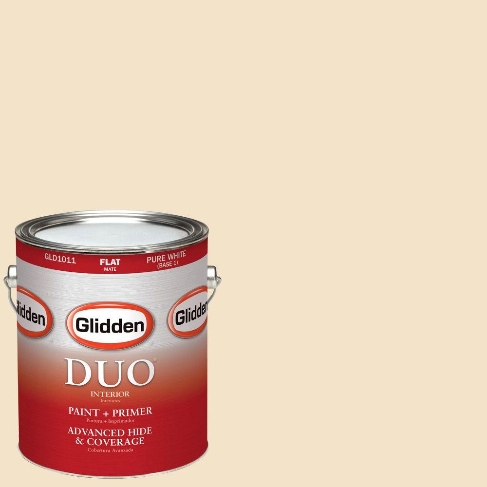 Glidden DUO 1-gal. #HDGY09 Gold Coast White Flat Latex Interior Paint with Primer