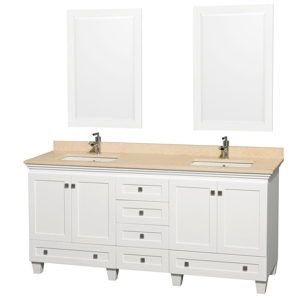Wyndham Collection Acclaim 72 in. Double Vanity in White with Marble Vanity Top in Ivory and Porcelain Under Mounted Sinks-DISCONTINUED