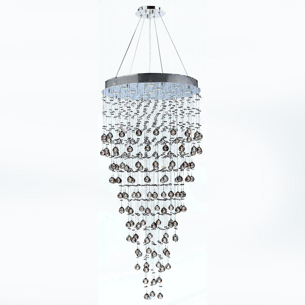 Icicle 12-Light Chrome with Clear Crystal Chandelier