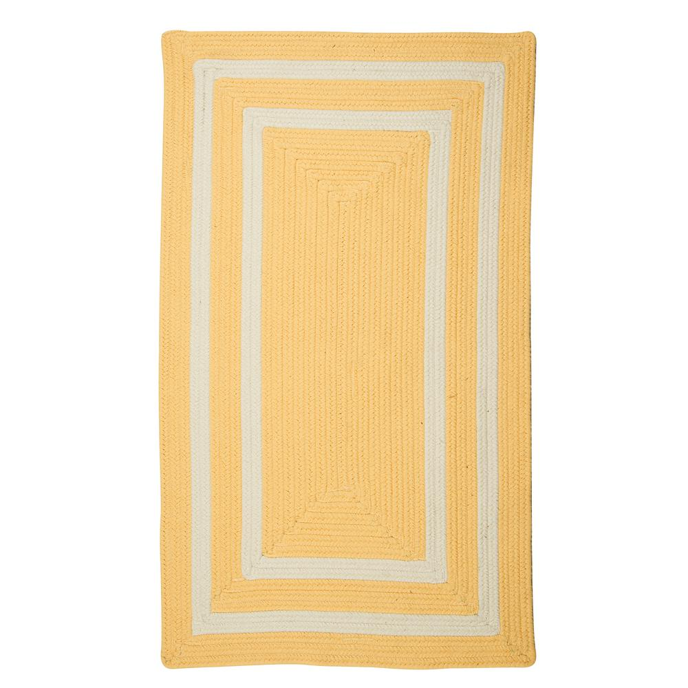 Griffin Border Yellow/White 10 ft. x 13 ft. Braided Indoor/Outdoor Area