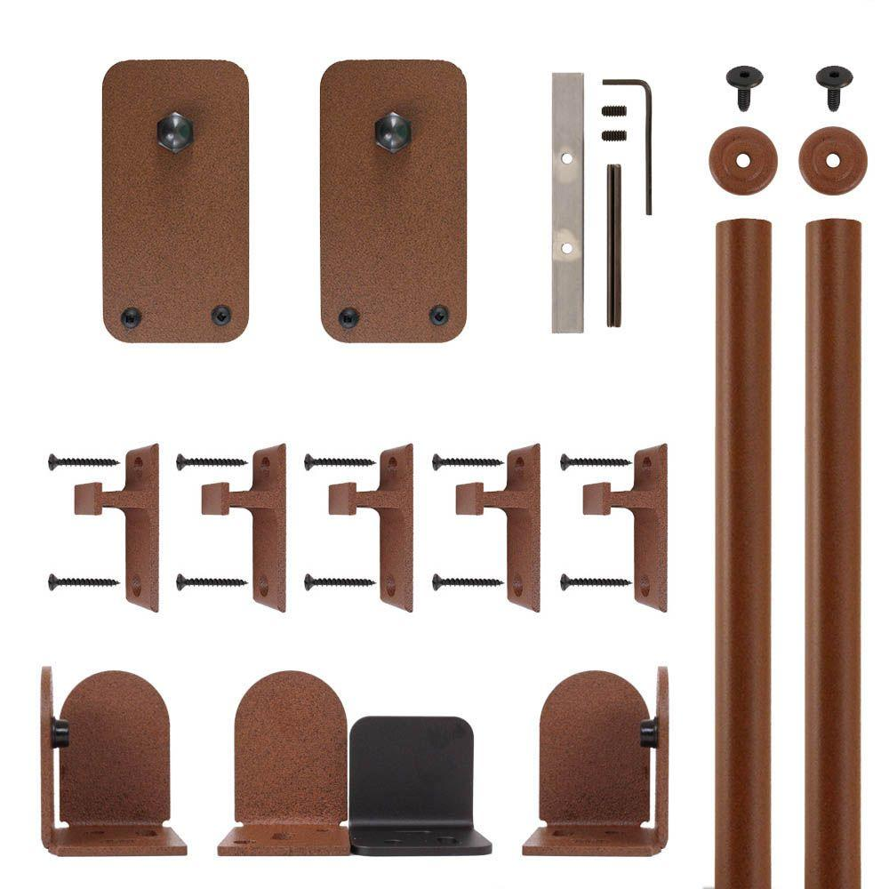 Quiet Glide Basic Rectangle New Age Rust Rolling Door Hardware Kit
