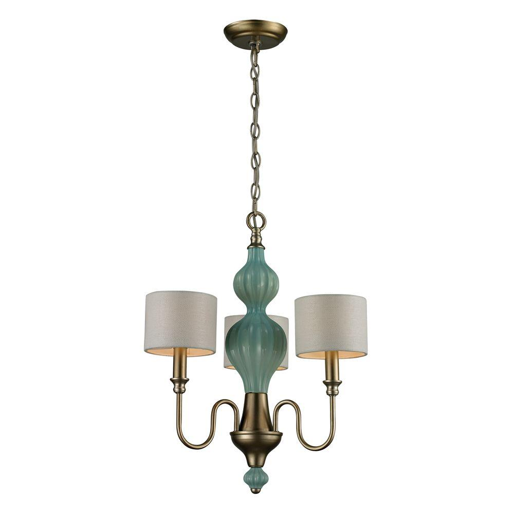 Titan Lighting Lilliana 3-Light Seafoam and Aged Silver Ceiling