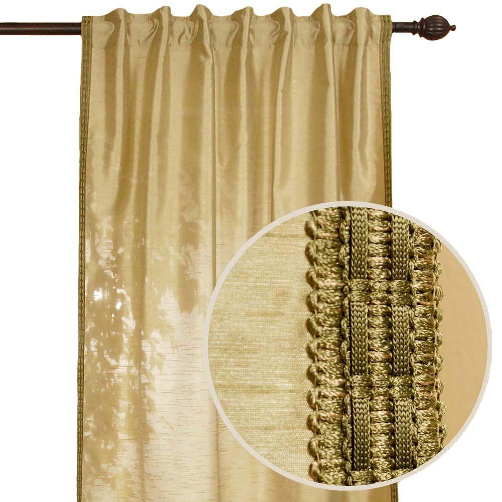Home Decorators Collection Polysilk Sage Back Tab Curtain