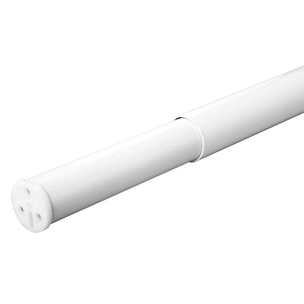 48 in. - 72 in. Heavy Duty Adjustable White Closet Rod
