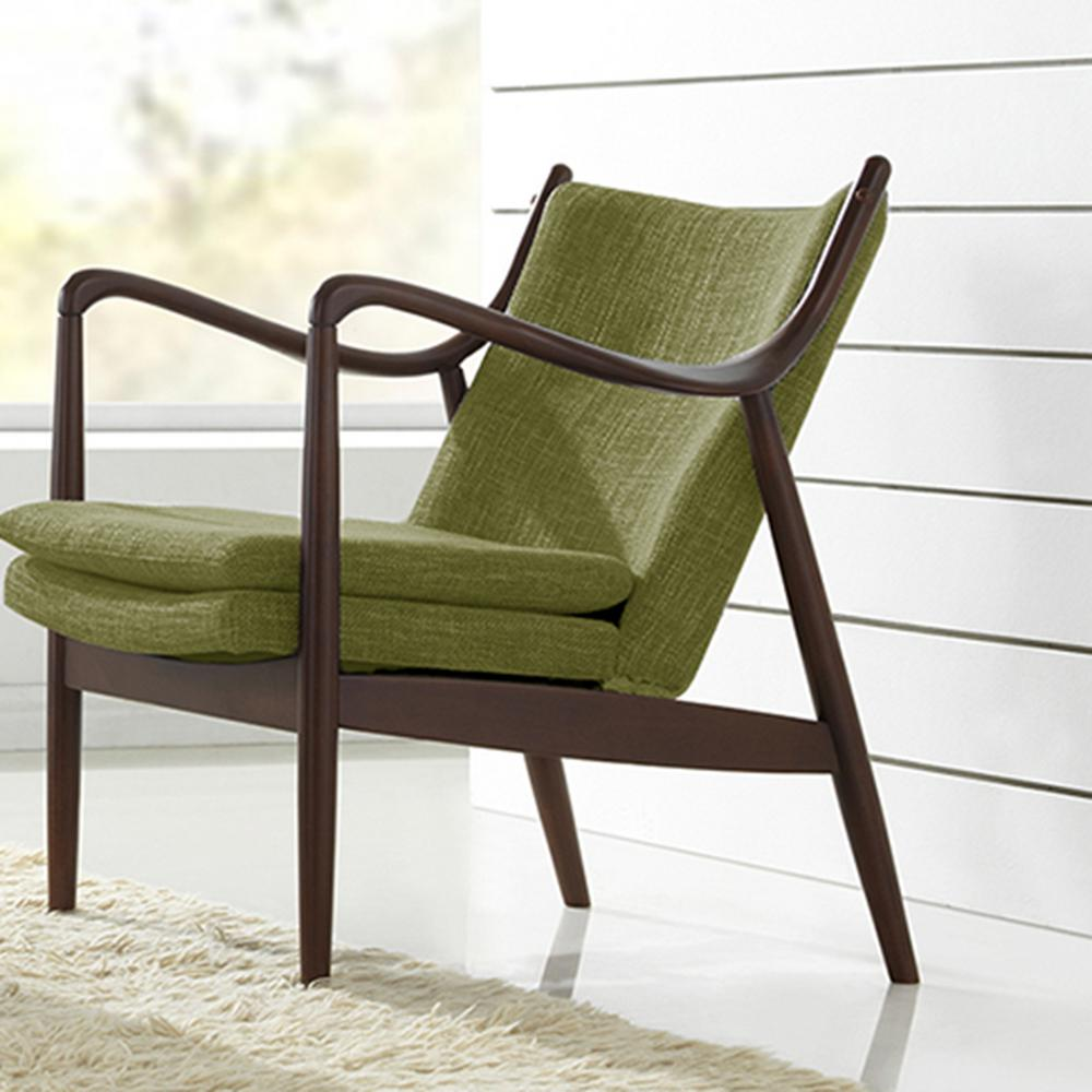 Shakespeare Mid-Century Green Fabric Upholstered Accent Chair
