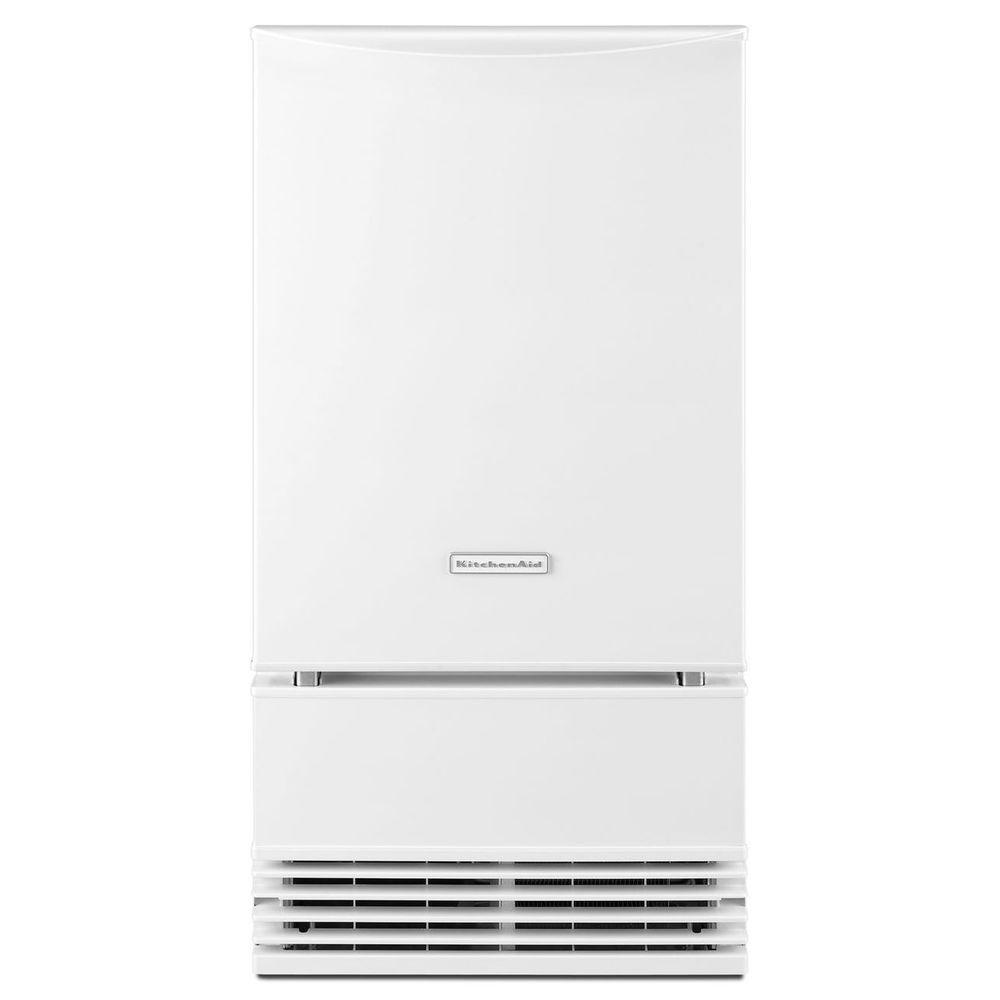 KitchenAid 18 in. 50 lb. Freestanding or Built-In Icemaker with Drain Pump in White