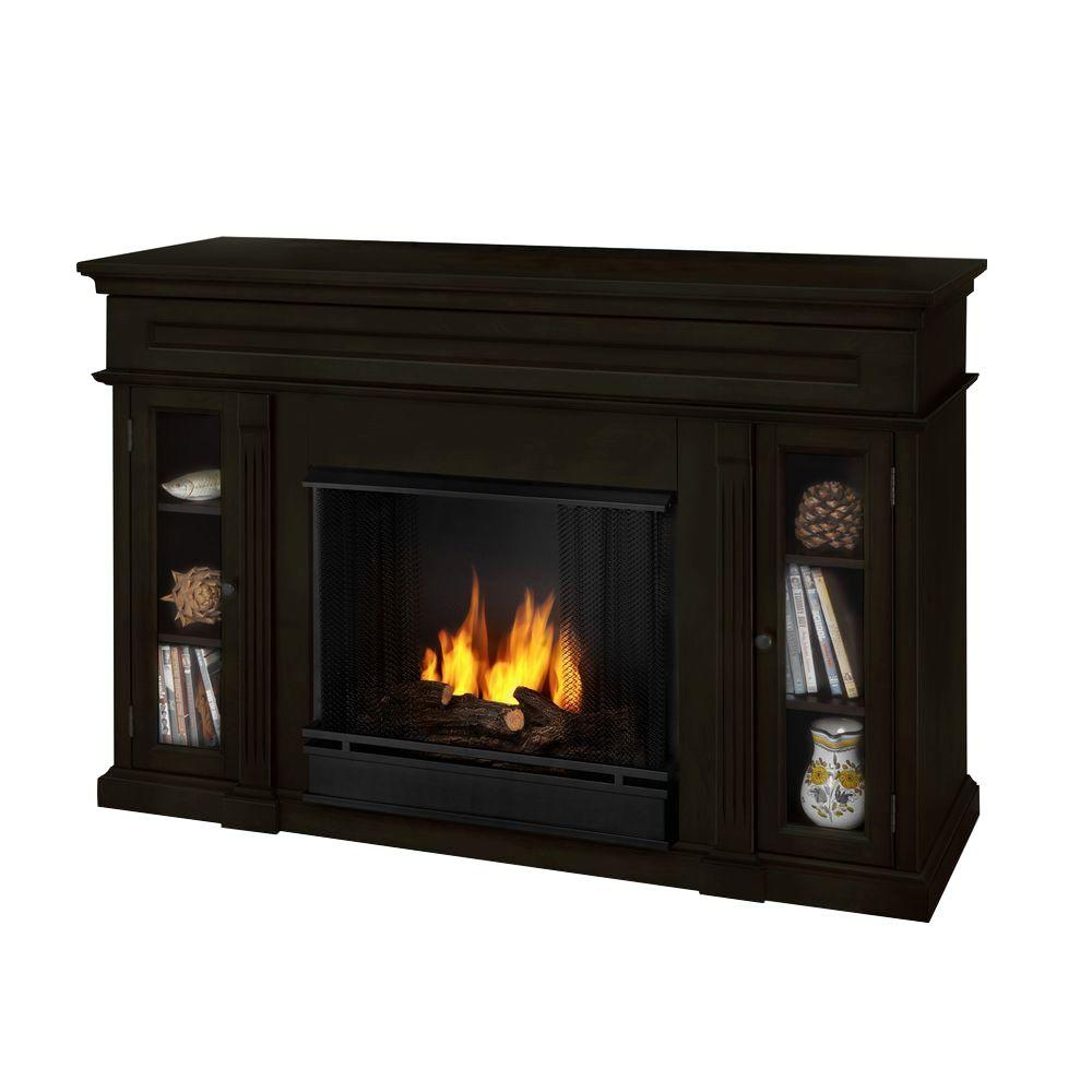 Real Flame Lannon 51 in. Media Console Gel Fuel Fireplace in Dark Walnut-DISCONTINUED