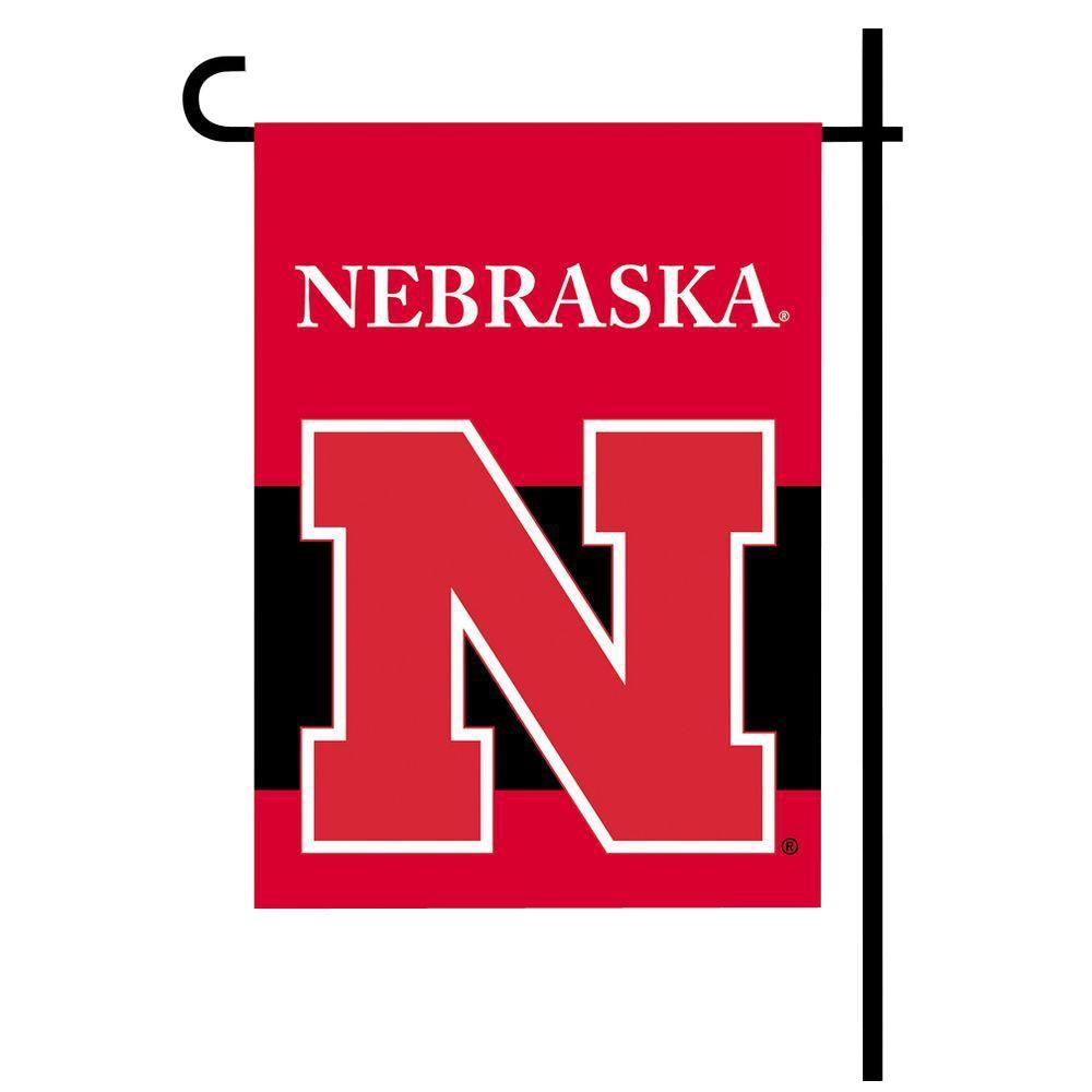 Ncaa 13 in. x 18 in. Nebraska 2-Sided Garden Flag Set with 4 ft. Metal Flag Stand