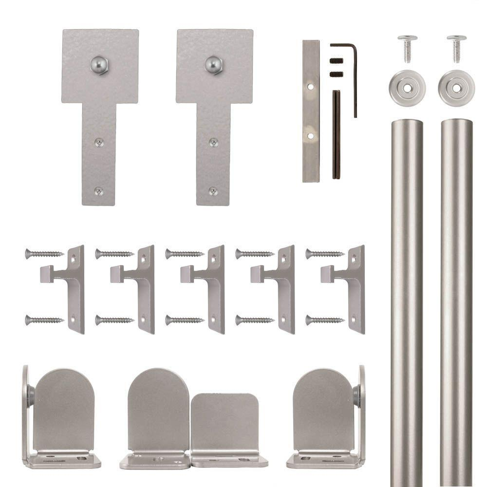 Cube Stick Satin Nickel Rolling Door Hardware Kit for 3/4 in.