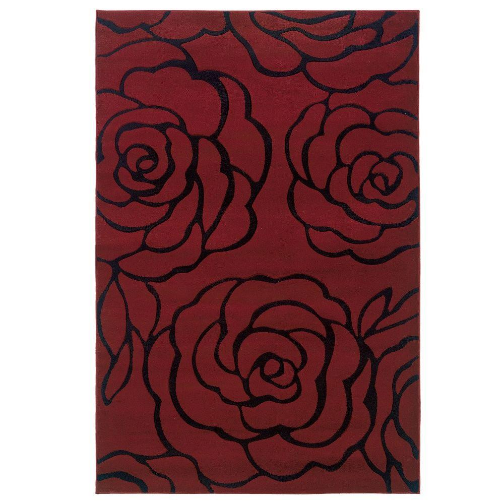 Milan Collection Garnet and Black 1 ft. 10 in. x 2 ft. 10 in. Indoor Area Rug, Primary: Garnet/Secondary: Black