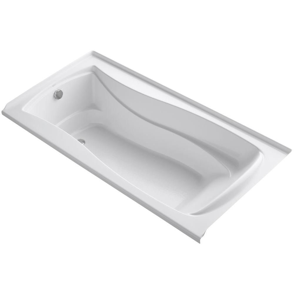 Mariposa 6 ft. Left Drain Soaking Tub in White with Bask