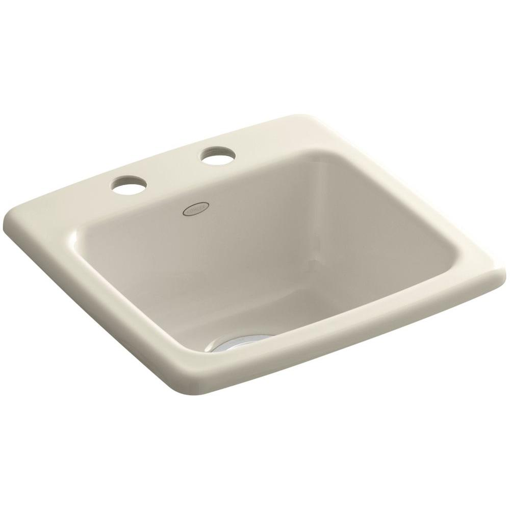 Gimlet Top Mount Acrylic 15 in. 2-Hole Single Bowl Bar Sink in Almond
