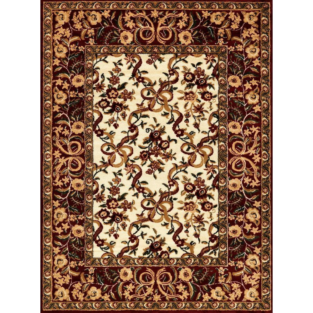 Contemporary Indoor/Outdoor Area Rug: World Rug Gallery Rugs Nova Floral Ivory 7 ft. 10 in. x 10 ft. 2 in. Indoor 5775-IVORY-8x10