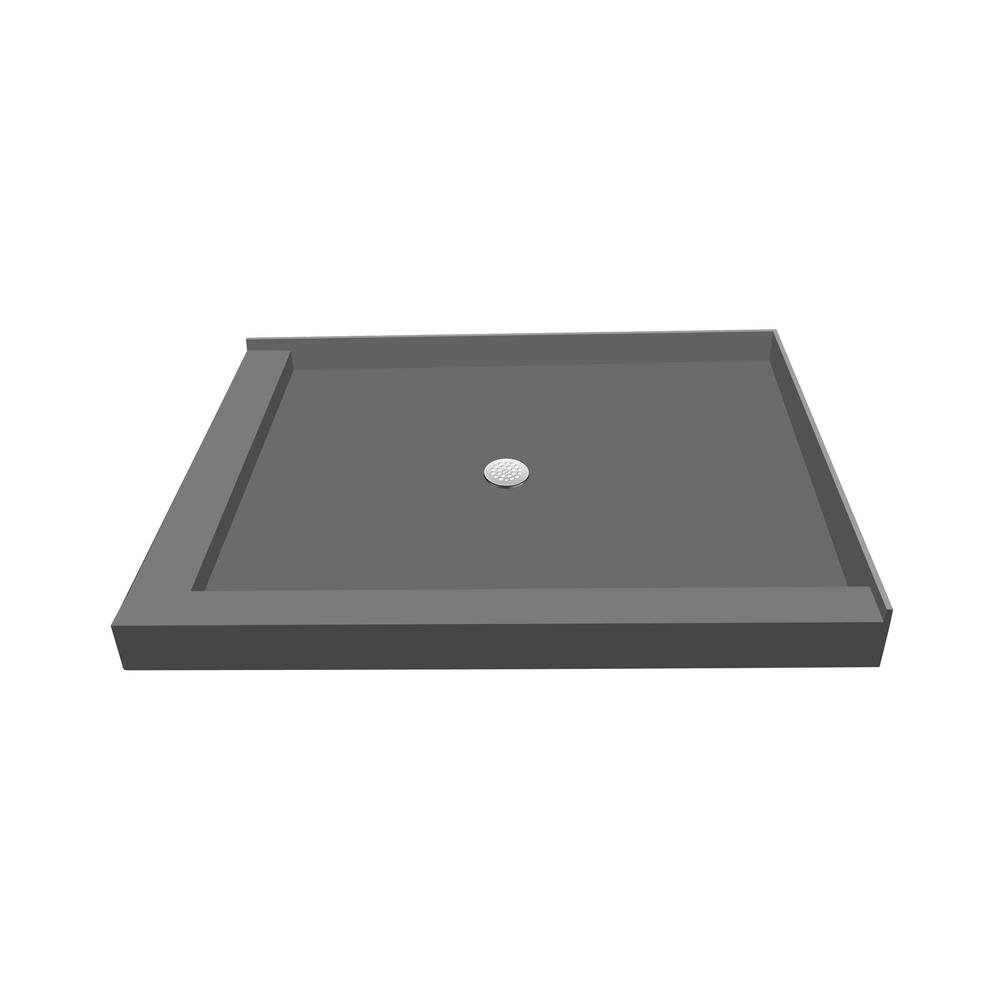 32 in. x 48 in. Double Threshold Shower Base in Gray