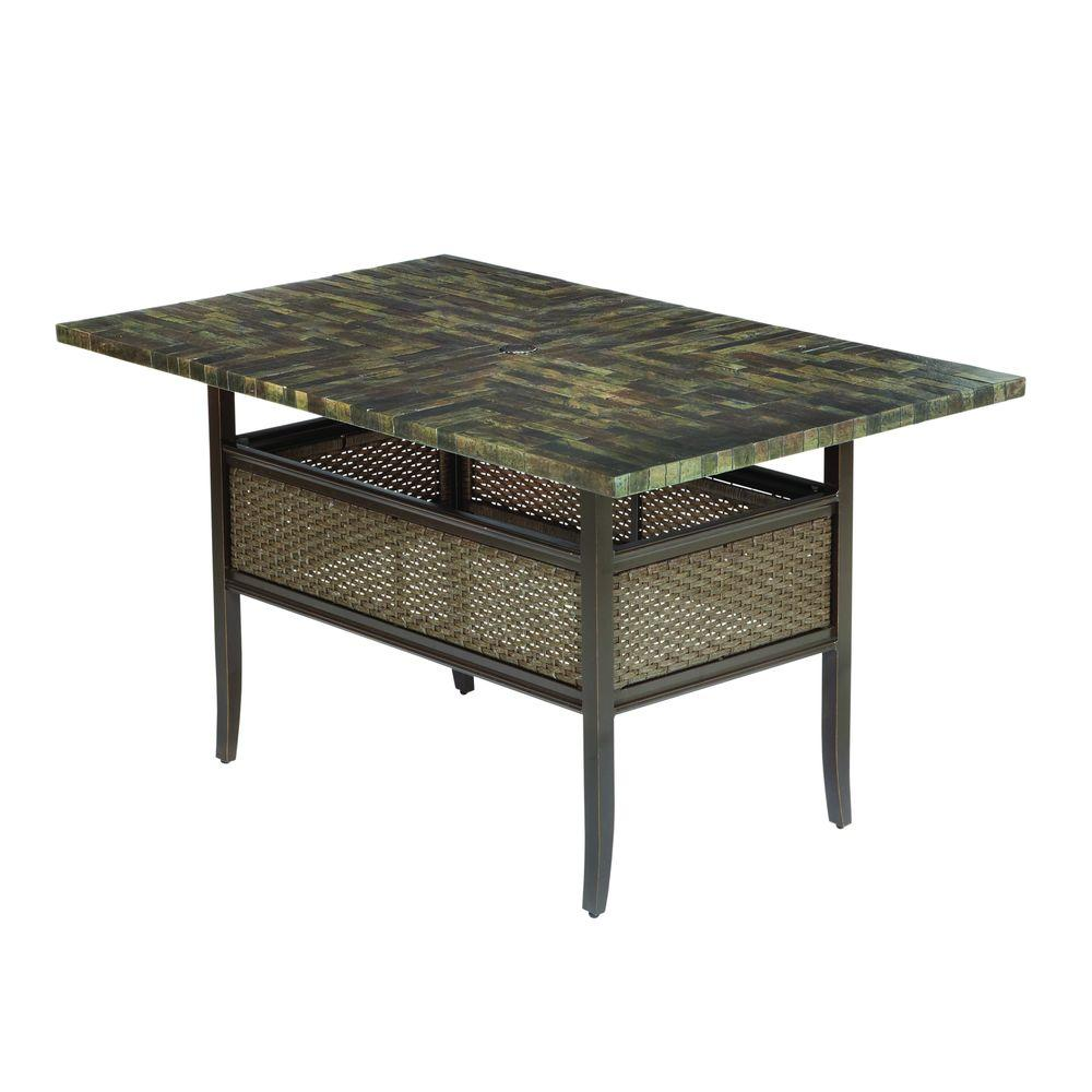 Hampton Bay Salem 64 in. x 40 in. High Patio Dining Table-DISCONTINUED