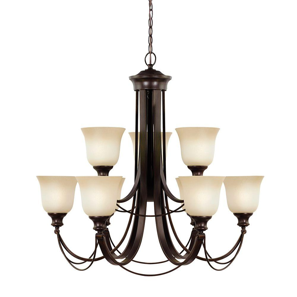 Sea Gull Lighting Park West 9-Light Burnt Sienna Fluorescent Chandelier with Cafe Tint Glass
