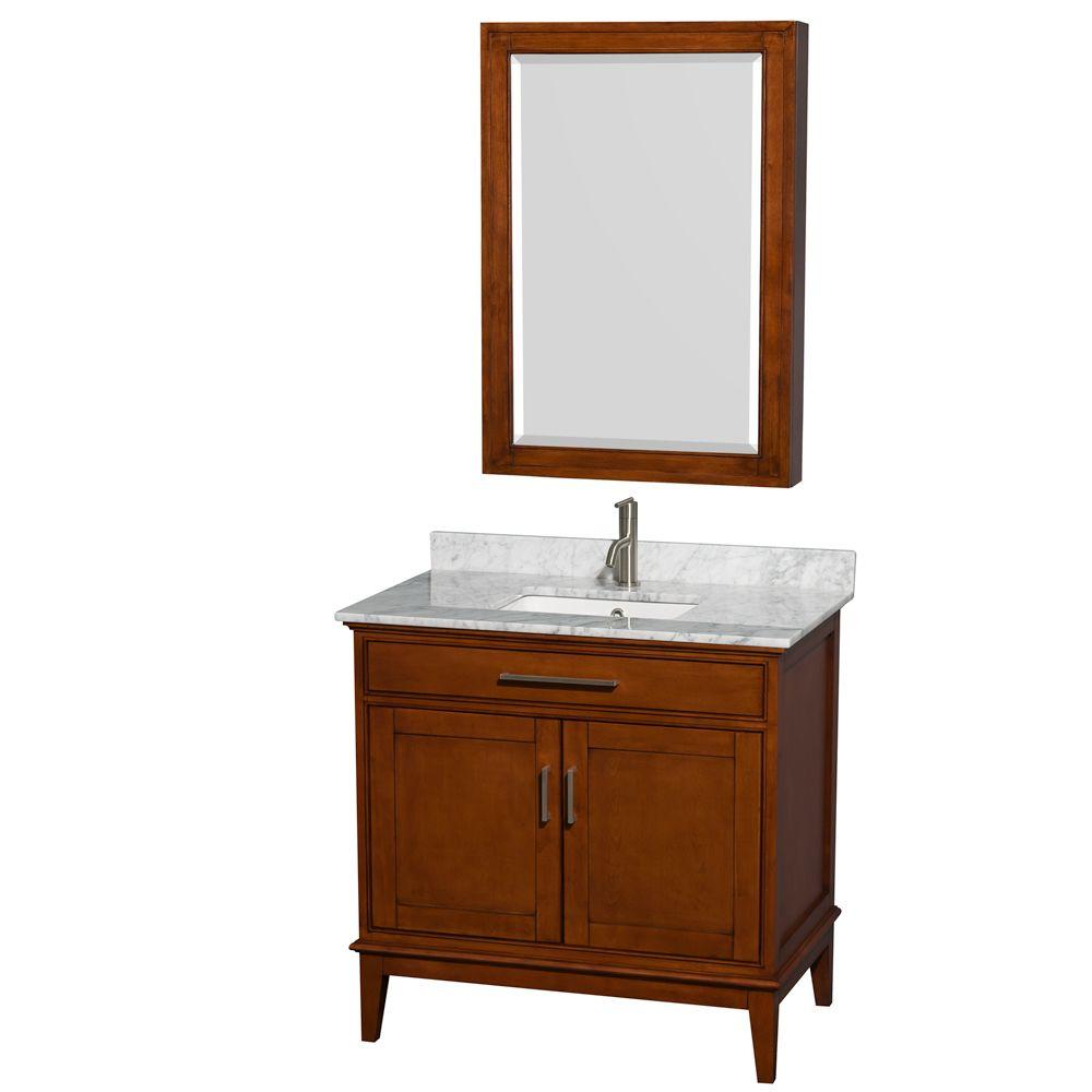 Wyndham Collection Hatton 36 in. Vanity in Light Chestnut with Marble Vanity Top in Carrara White, Square Sink and Medicine Cabinet
