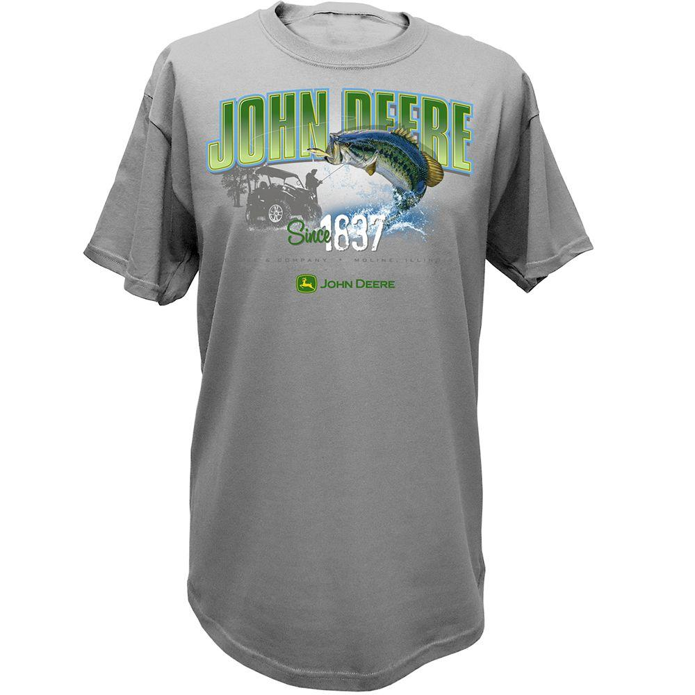 John Deere Men's XL Gator T-Shirt with Large Mouth Bass in Oxford