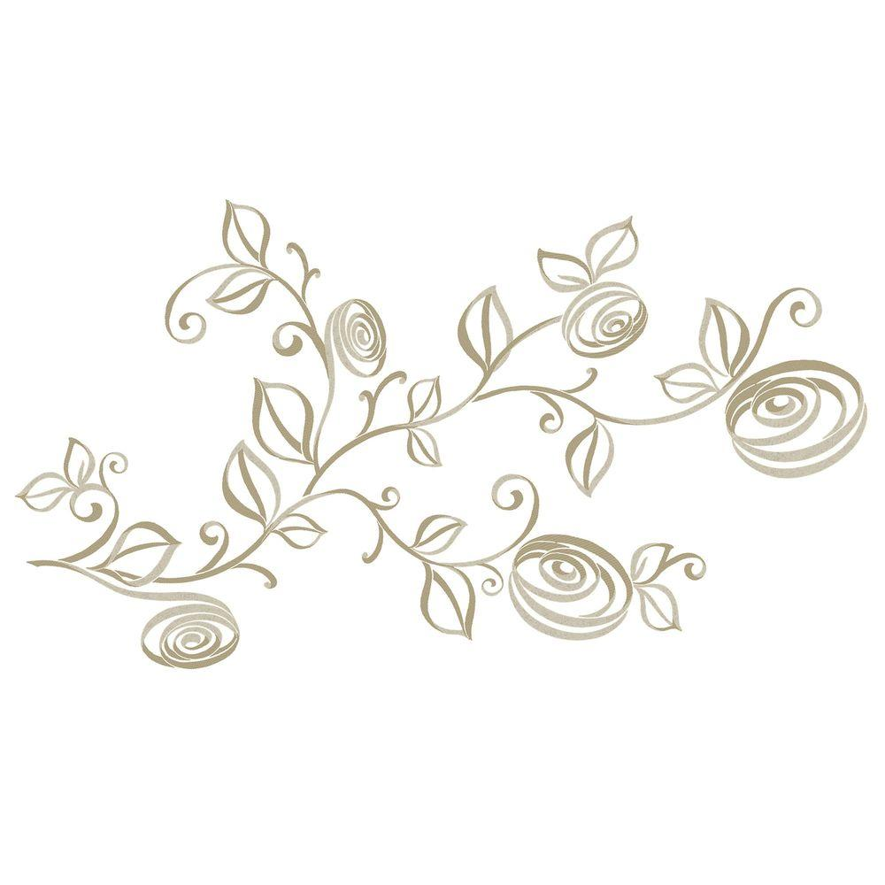 RoomMates 5 in. x 1 in. Stylized Roses Peel and Stick Wall Decals