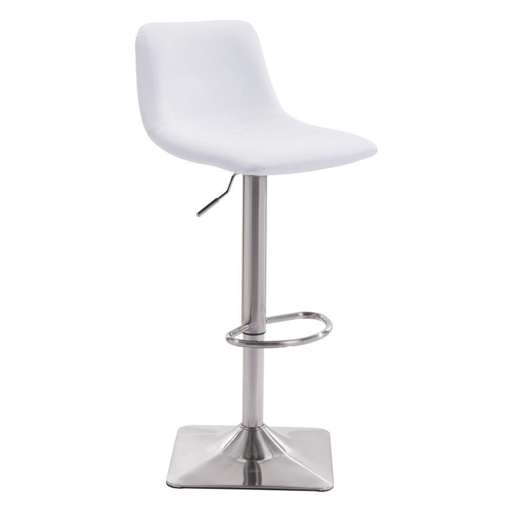 Cougar Adjustable Height White Cushioned Bar Stool