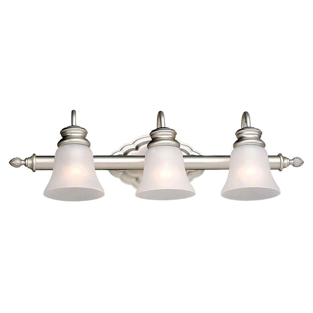 Talista 3-Light Brushed Nickel Bath Vanity Light with Satin Etched Crackle