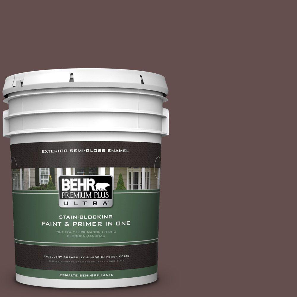BEHR Premium Plus Ultra 5 gal. #HDC-CL-13A Library Leather Semi-Gloss Enamel