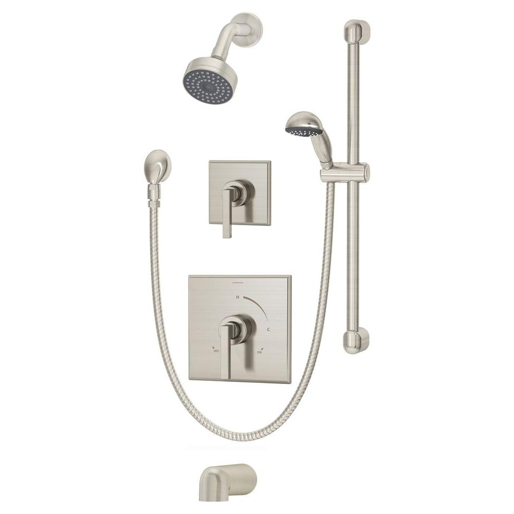 Symmons Duro 30 in. 1-Handle 1-Spray Tub and Hand Shower Faucet System with Hand Spray in Satin Nickel