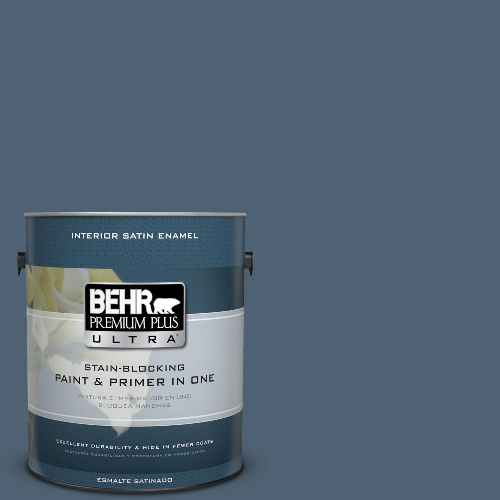 1 gal. #T17-17 Midnight Show Satin Enamel Interior Paint