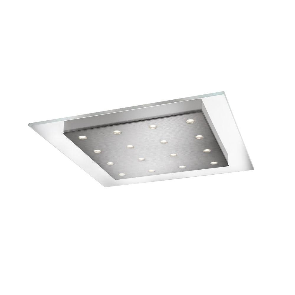 Matrix 16-Light Brushed Nickel LED Ceiling Fixture with Integrated Flush Smoky