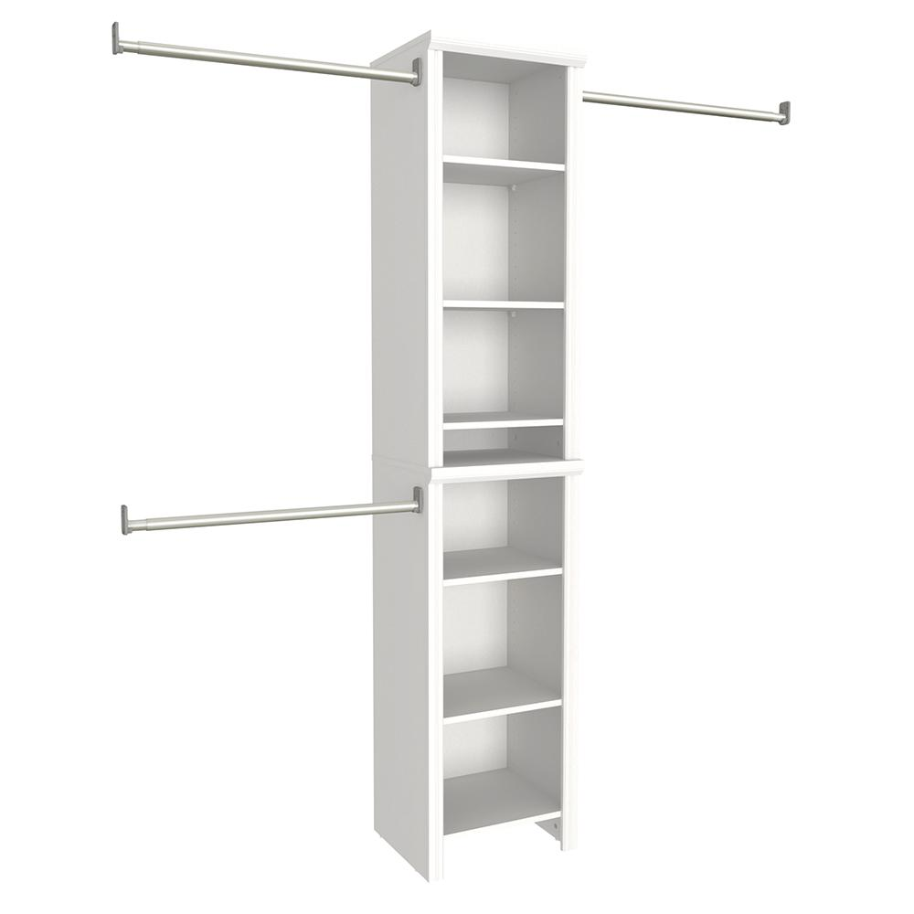 Closetmaid impressions 4 ft to 9 ft white narrow closet for Bathroom 9 foot ceiling
