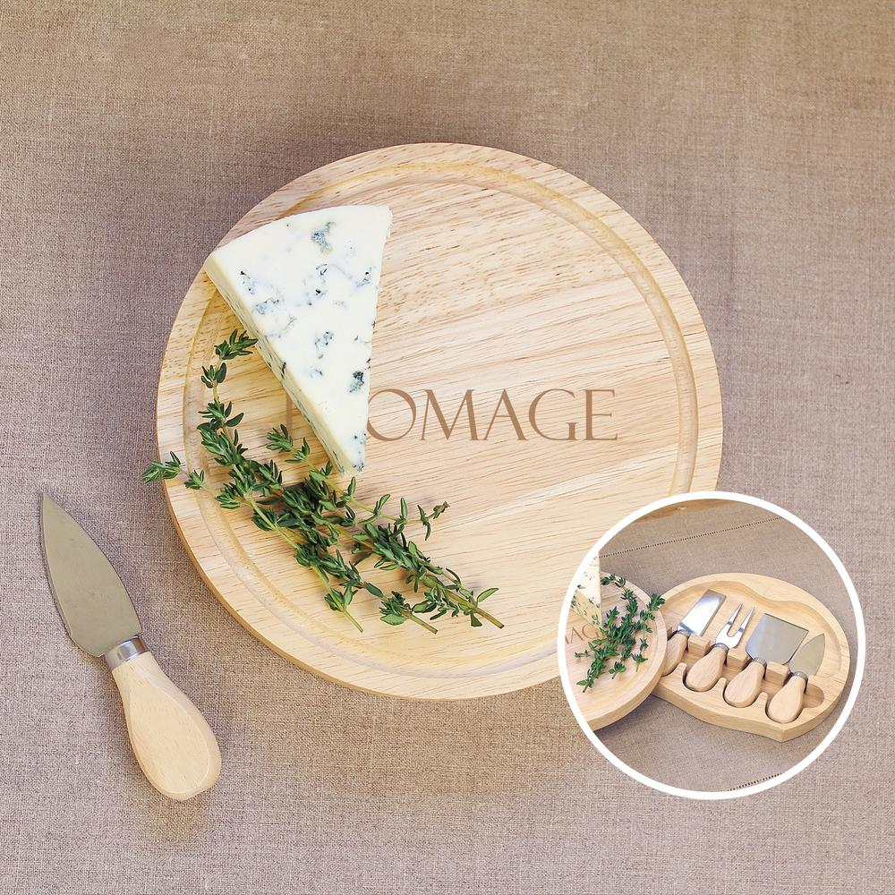 Fromage 8 in. Wooden Cheese Board with Utensils