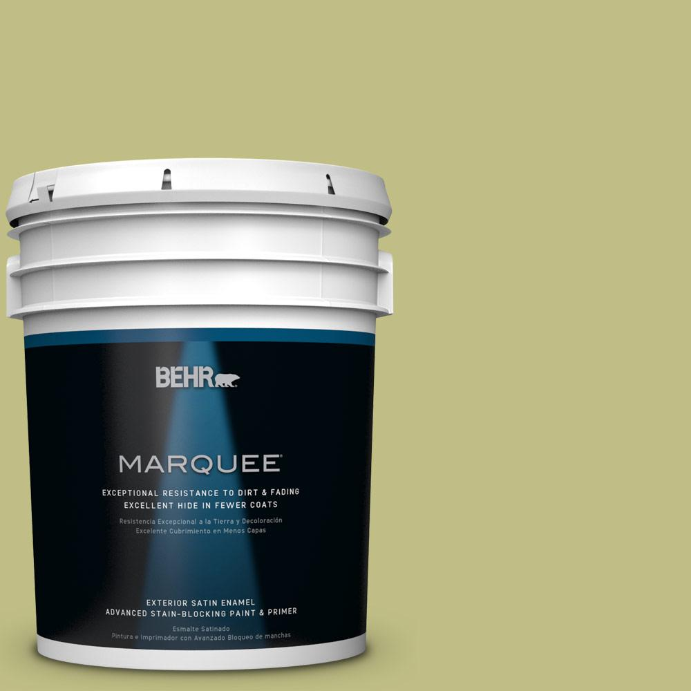 BEHR MARQUEE 5-gal. #T13-19 Gnome Green Satin Enamel Exterior Paint-945405 -