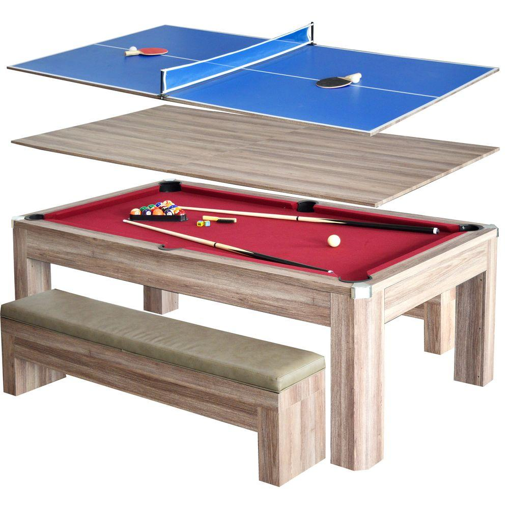Newport 7 ft. Pool Table Combo Set with Benches