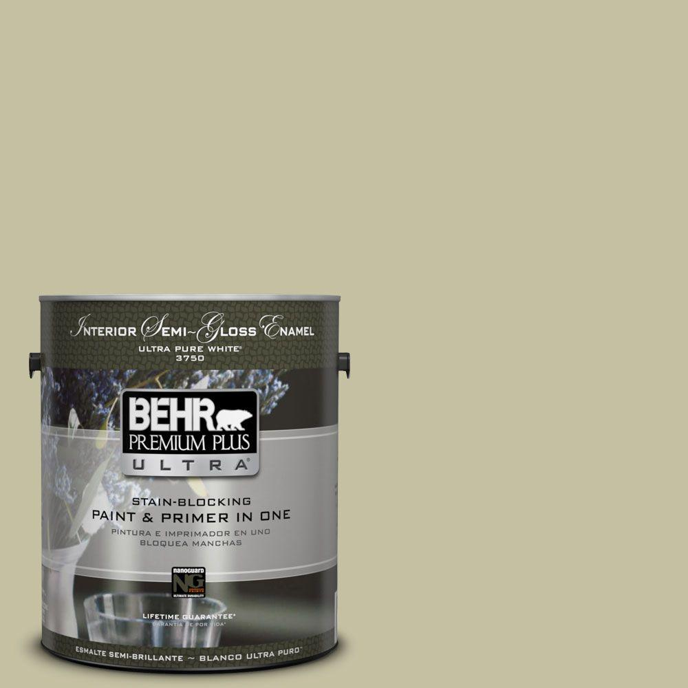 1-gal. #S350-3 Washed Olive Semi-Gloss Enamel Interior Paint