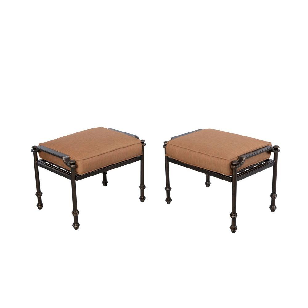 Hampton Bay Niles Park Patio Ottomans with Cashew Cushions (2-Pack)-S2-AHH01508