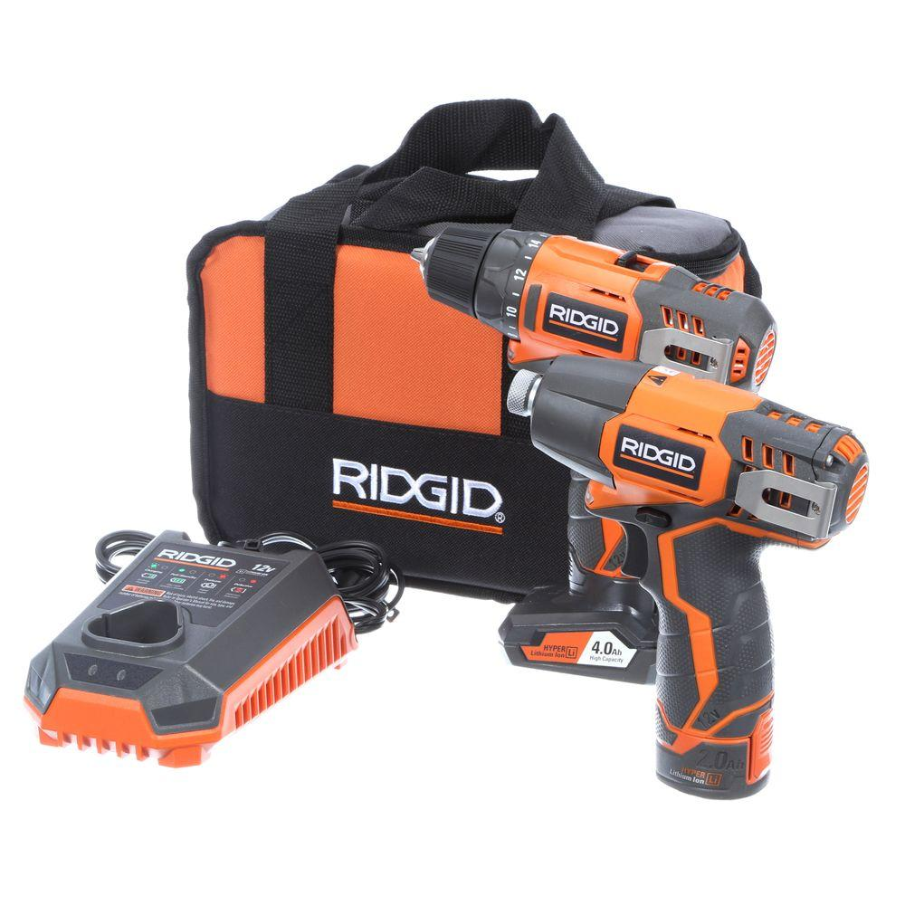 RIDGID 12-Volt Hyper Lithium-Ion Drill/Driver and Impact Driver Combo Kit-R9000K