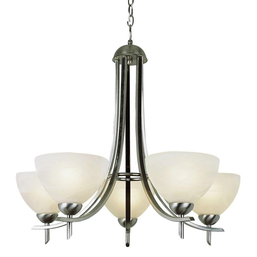 Stewart 5-Light Polished Chrome Chandelier with Frosted Glass Shades