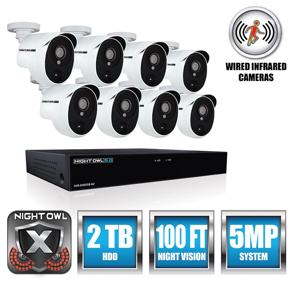 5MP Extreme HD 8-Channel DVR with 8 PIR Cameras and 2