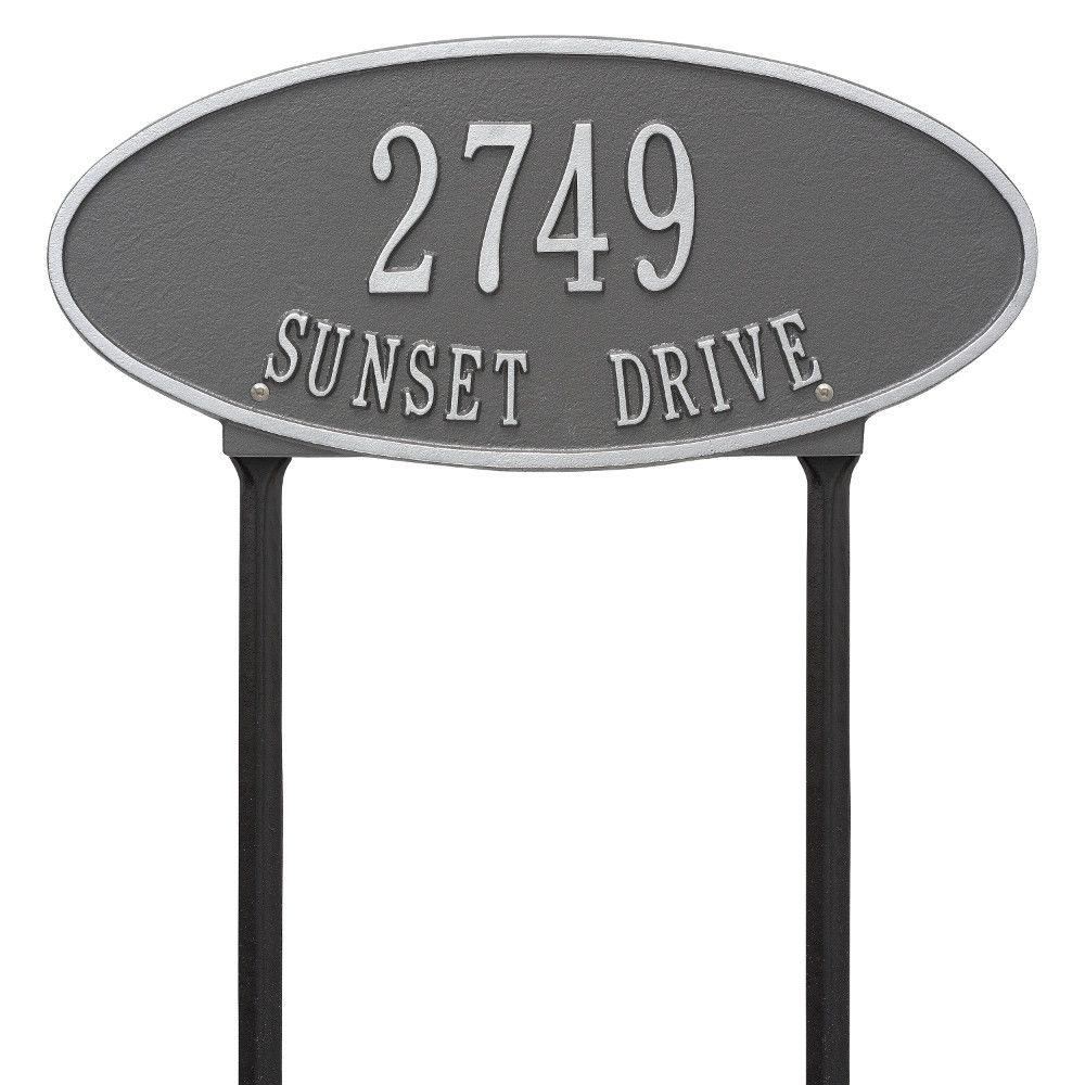 Madison Oval Standard Lawn 2-Line Address Plaque - Pewter/Silver